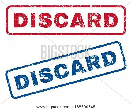 Discard text rubber seal stamp watermarks. Vector style is blue and red ink caption inside rounded rectangular shape. Grunge design and dirty texture. Blue and red signs.