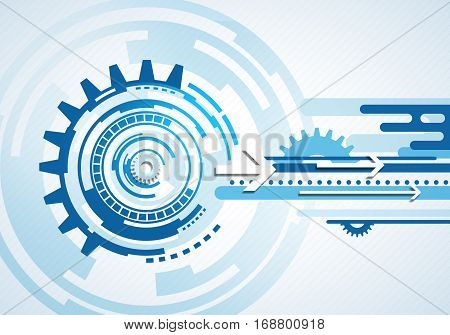 Abstract concept business technology futuristic blue virtual ingographic touch screen user interface with volume arrows