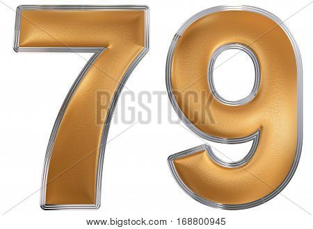 Numeral 79, Seventy Nine, Isolated On White Background, 3D Render