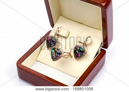 golden earrings and ring with mystic Topaz