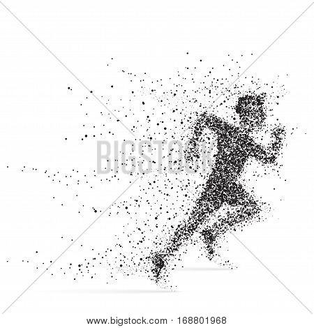 Running Man. Athlete with bursting particles. Illustration on a white background.