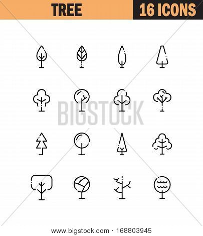 Tree flat icon set. Collection of high quality outline symbols for web design, mobile app. Tree vector thin line icons or logo.