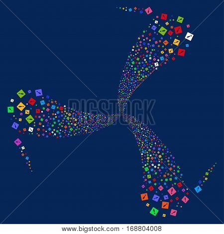 Error fireworks swirl rotation. Vector illustration style is flat bright multicolored iconic symbols on a blue background. Object whirlpool done from random symbols.
