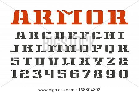 Stencil-plate serif font and numerals in military style. Isolated on white background