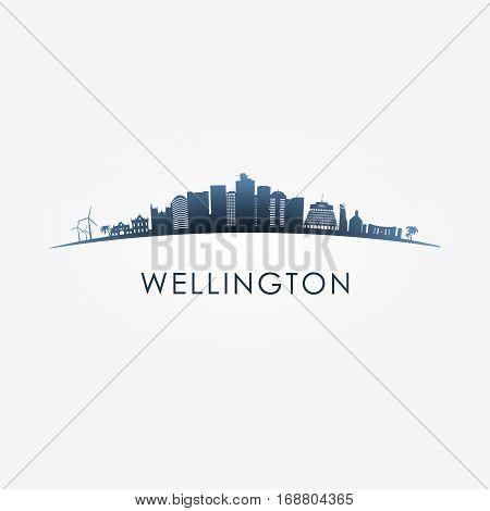 Wellington New Zealand skyline silhouette black vector design on white background.