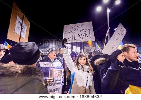 BRASOV ROMANIA - 3 FEBRUARY 2017: The 4th day of successive biggest anti-corruption protest in decades in Romania. Almost 400.000 Romanians demonstrated against government decree decriminalizing some corruption offences.