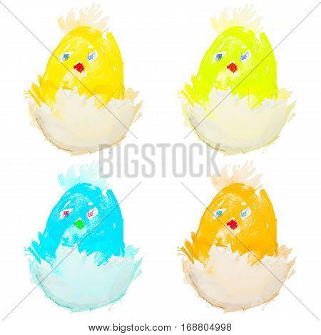 four easter chicks hatching from an egg isolated on white background