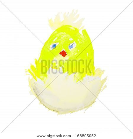 easter chick hatching from an egg isolated on white background