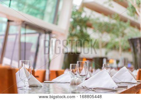 Elegance Of Glasses On Table Set Up For Dinning Room
