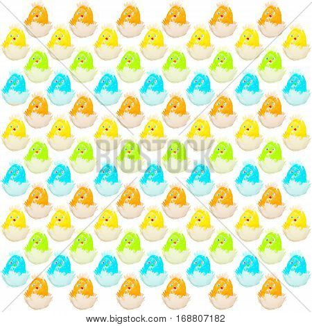 easter chick hatching from an egg pattern isolated. four colors