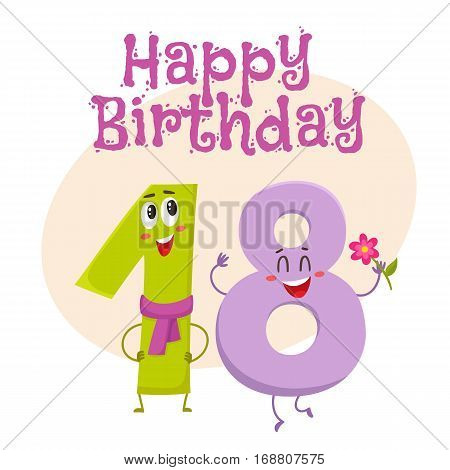 Happy birthday vector greeting card, poster, banner design with cute and funny eighteen number characters. eighteen smiling characters, happy birthday greeting card template