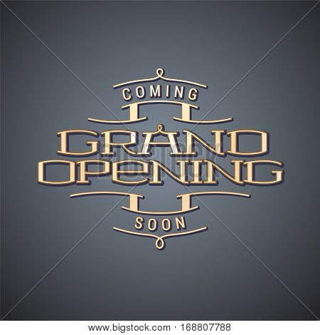 Grand opening vector illustration, background. Template nonstandard design element for store opening event. Can be used as banner or poster