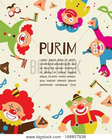 purim template design, Jewih holiday vector illustration