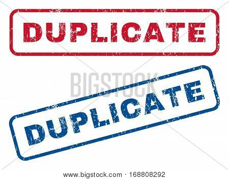 Duplicate text rubber seal stamp watermarks. Vector style is blue and red ink tag inside rounded rectangular banner. Grunge design and unclean texture. Blue and red stickers.