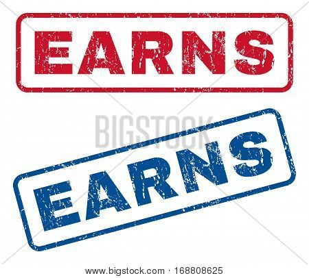 Earns text rubber seal stamp watermarks. Vector style is blue and red ink caption inside rounded rectangular banner. Grunge design and dirty texture. Blue and red emblems.