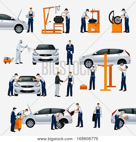 Flat icons car repair service different workers in the process of repairing the car tire service diagnostics vehicle painting window replacement spare parts. Vector illustration