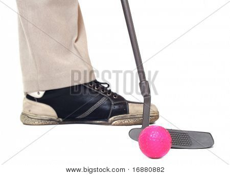 Golf club and ball. Close up with shallow DOF.