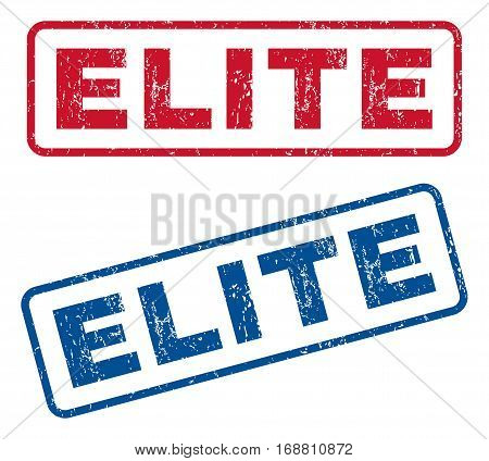 Elite text rubber seal stamp watermarks. Vector style is blue and red ink tag inside rounded rectangular shape. Grunge design and dirty texture. Blue and red emblems.