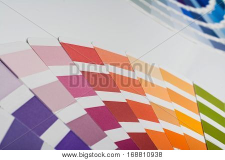 Color picker palette closeup isolated on white background. Top view product photograph