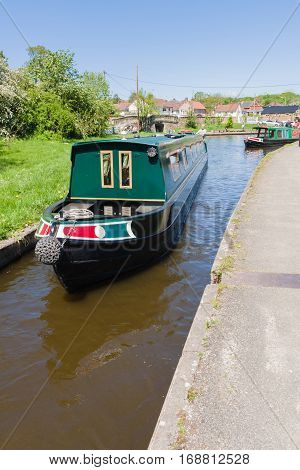 TREVOR WALES UNITED KINGDOM - MAY 16 2016: Narrowboat on the Llangollen canal a popular holiday getaway for families and tourists to enjoy the extensive inland waterway network