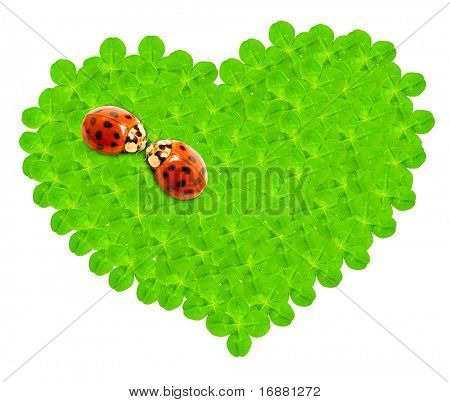 Green hearth from quarter foils and a ladybugs couple.