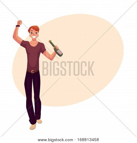 Young man dancing with beer bottle at party, in night club, cartoon vector illustration on background with place for text. Young handsome man dancing at a nightclub, drinking beer, having fun
