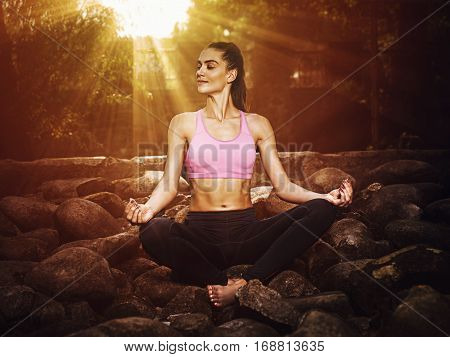 The Girl Is Engaged In Yoga In The Park. T