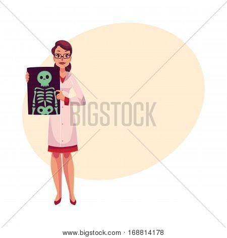 Female radiologist showing an x-ray image of skeleton, cartoon vector illustration on background with place for text. Woman radiologist, roentgenologist doctor with an x-ray of skeleton