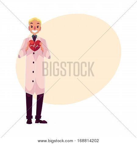 Male cardiac surgeon in lab coat holding heart with pulse shown on it, cartoon vector on background with place for text. Male cardiac surgeon doctor, heart disease specialist, cardiologist