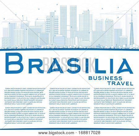 Outline Brasilia Skyline with Blue Buildings and Copy Space. Vector Illustration. Business Travel and Tourism Concept with Modern Architecture. Image for Presentation Banner Placard and Web Site.