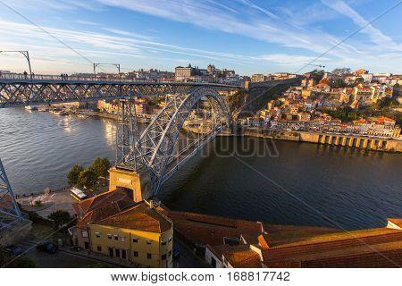 Douro river and Dom Luis I bridge, Porto, Portugal.
