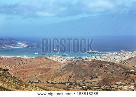 Panoramic view of Mindelo City Cape Verde