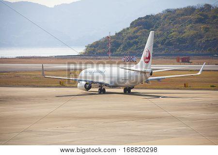 19 Dec 2015 Airport Nagasaki. Japan. Jal Airplanes In Airport Of Nagasaki (ngs), Omura