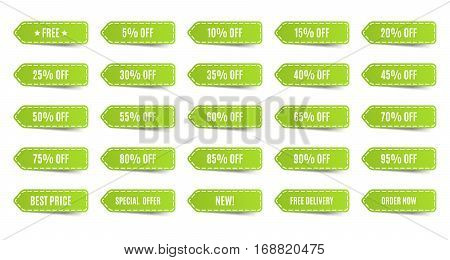 Isolated shopping tags set. Green discount labels. 5 10 15 20 25 30 35 40 45 50 55 60 65 70 75 80 85 90 95 percent. Vector illustration