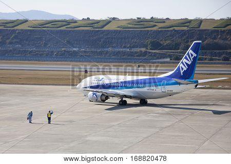19 Dec 2015 Airport Nagasaki. Japan. All Nippon Airways (ana) Airplane Ja301K In Airport Of Nagasaki