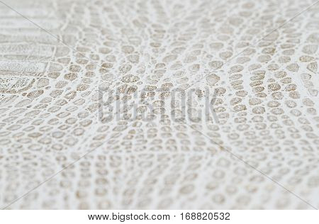 White leather texture background. Copy space for text.