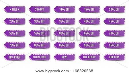 Isolated shopping tags set. Purple discount labels. 5 10 15 20 25 30 35 40 45 50 55 60 65 70 75 80 85 90 95 percent. Vector illustration