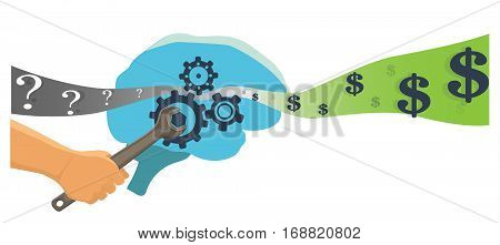 Business training and start up concept. Brain flat vector illustration.
