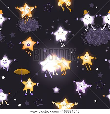 Stars in the night sky. Seamless pattern with cute cartoon characters. For design of websites, wallpaper, advertising. Children abstract background. Hand drawn vector illustration