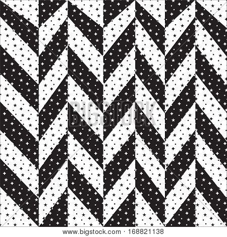 black and white zigzag background showing black and white shading back and forth and has stars and shapes pattern inside