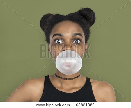African Woman Blowing Bubble Gum Playful Portrait