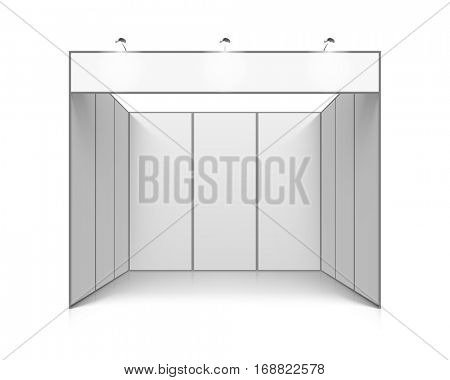 Blank white trade exhibition booth system stand, vector illustration