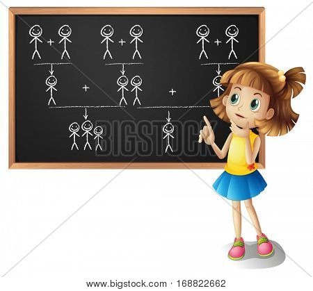 Little girl and family tree on the board illustration