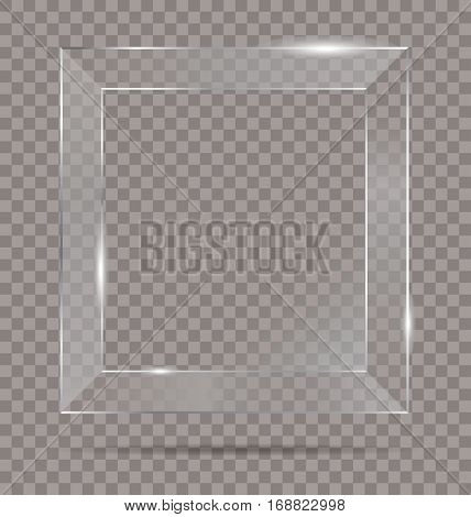 vector square shiny glass frame isolated on transparent background