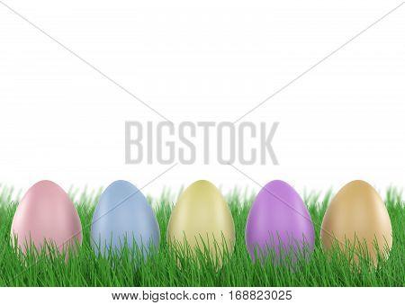 Easter eggs in Fresh Green Grass. 3d rendering
