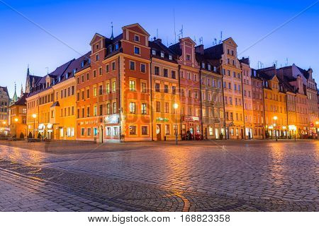 WROCLAW, POLAND - DECEMBER 28, 2016: Architecture of the Market Square in Wroclaw at dusk, Poland.  Wroclaw is the largest city in western Poland and historical capital of Silesia.