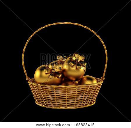 Basket of easter eggs isolated on black. 3d rendering