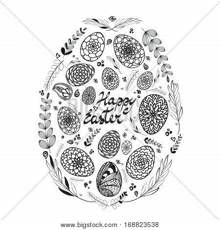 Decorative Card with Big Easter egg which consists of small hand drawn ornamental eggs and floral elements. Black and White. Doodle style. Stock vector