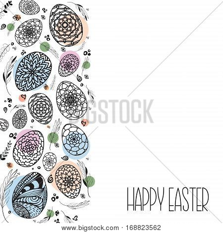 Decorative Easter eggs background with hand drawn ornamental black on white background with colored dots in pastels shades. Doodle style eggs and floral elements. Stock vector