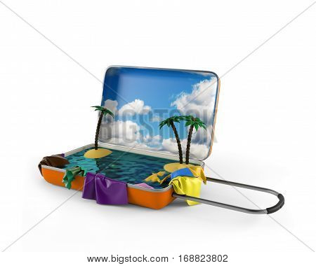 Open suitcase with a tropical island inside. 3d rendering